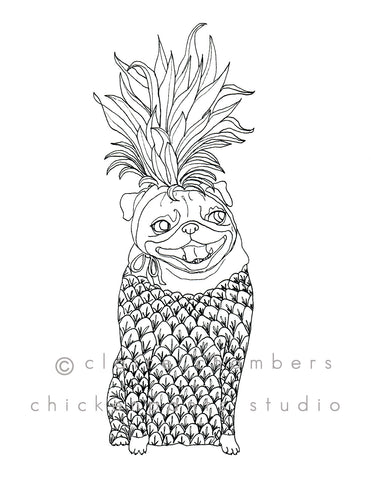 Pineapple Pug Coloring Sheet