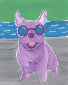 Poolside - Original French Bulldog Painting