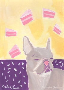 Just A Small Slice, Please - Original French Bulldog Painting