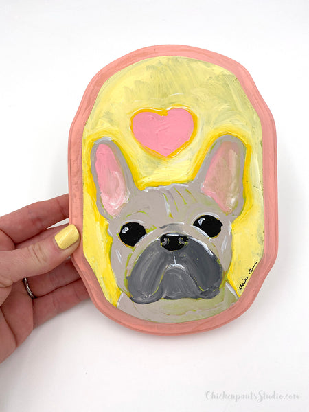 Pink Heart Frenchie - Original French Bulldog Painting