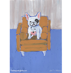This Is My Chair no. 2 - Original French Bulldog Painting