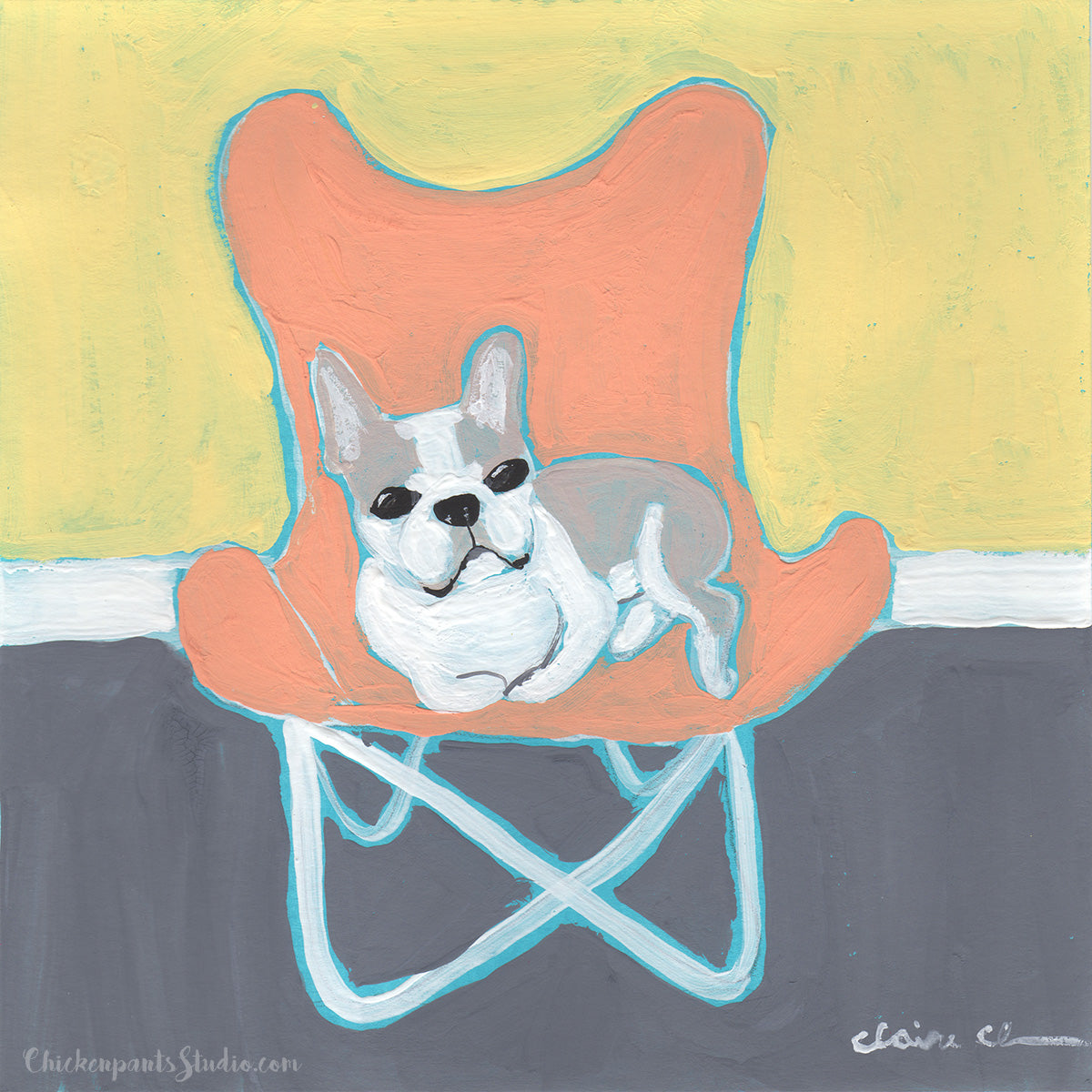 This Is My Chair no. 3 - Original Boston Terrier Painting