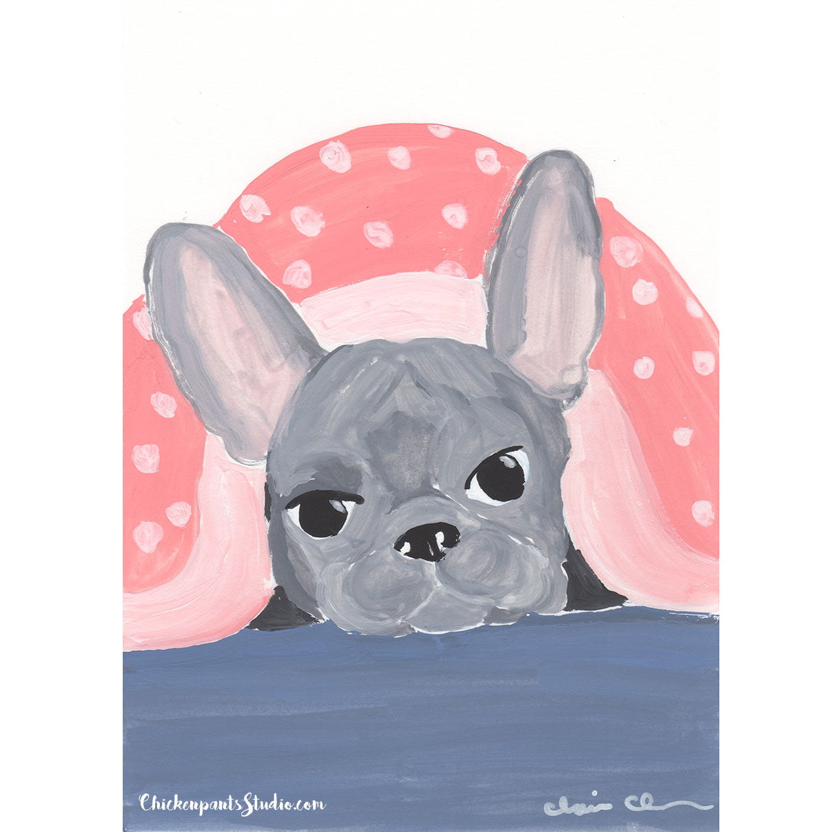 Hiding Under The Covers - Original French Bulldog Painting