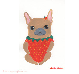 Strawbaby - Original French Bulldog Painting