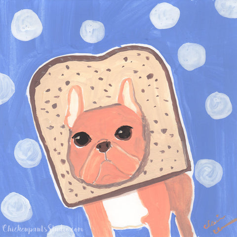 Bread Head - Original French Bulldog Painting