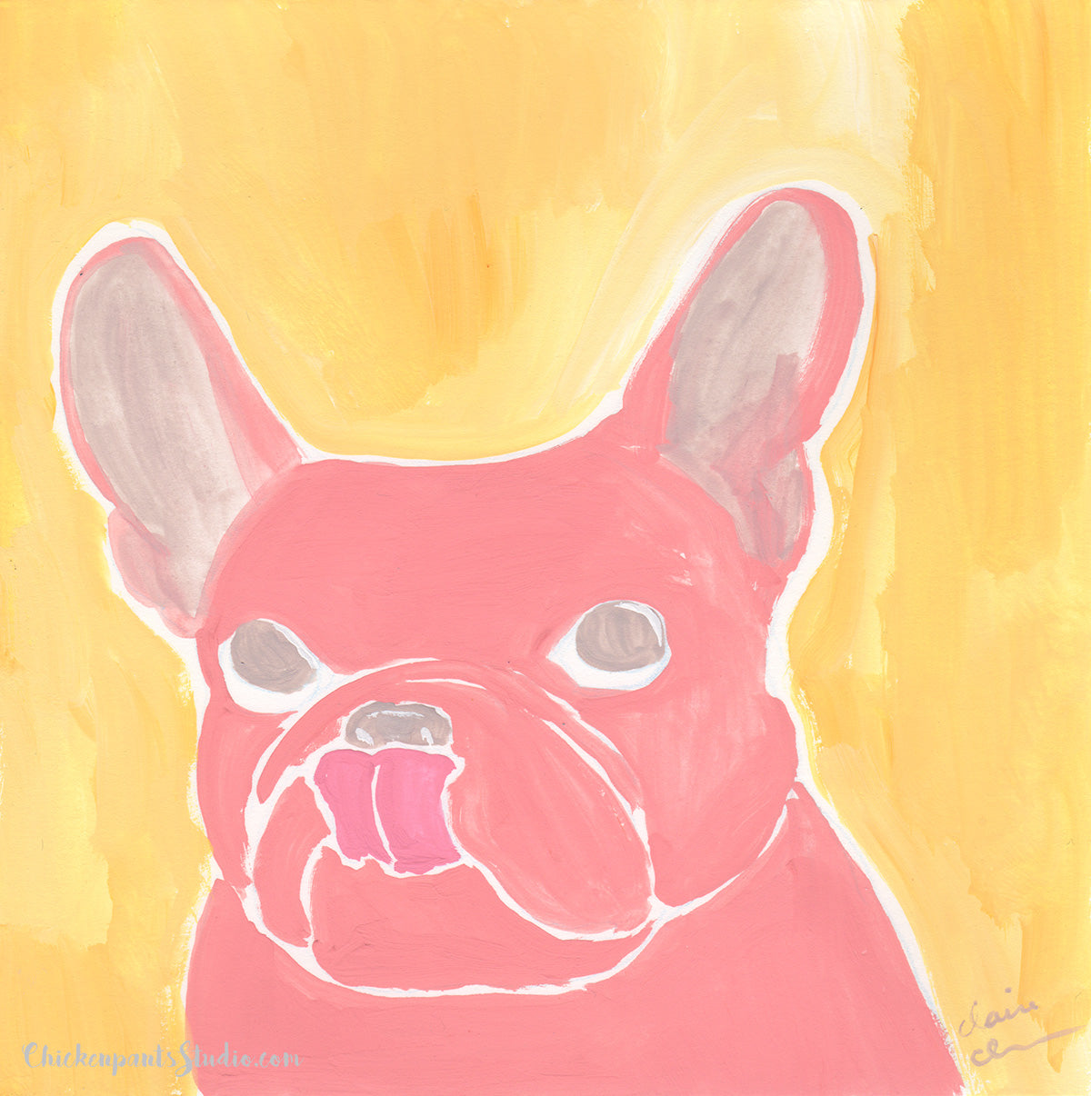 Mlem - Original French Bulldog Painting