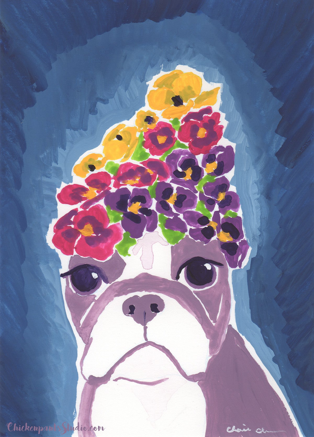 Garden Girl - Original Boston Terrier Painting