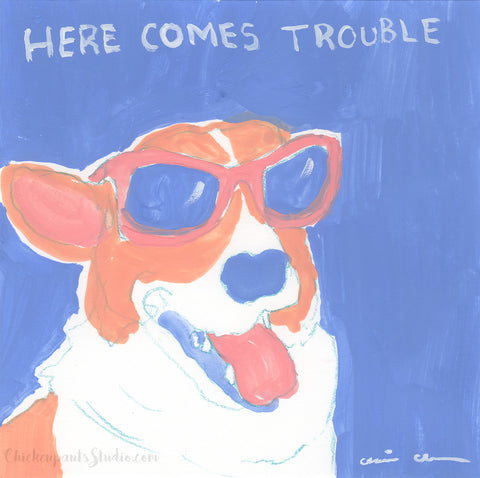 Here Comes Trouble - Original Corgi Painting