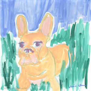 In The Grass - Original French Bulldog Painting