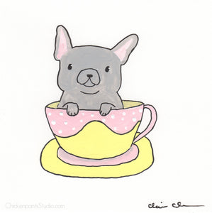 Pup In Cup - Original French Bulldog Painting