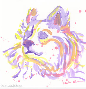 Rainbow Fluff - Original Dog Painting