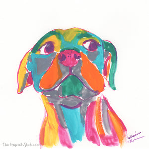 Rainbow - Original Dog Painting