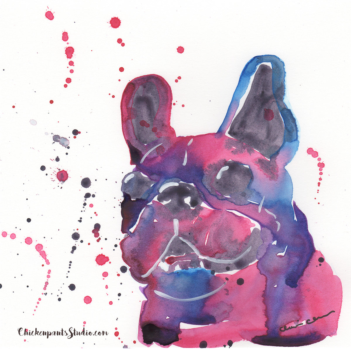 Magenta - Original French Bulldog Painting