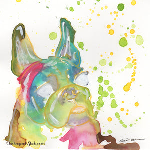 Hello Underbite! - Original Rainbow Watercolor Dog Painting