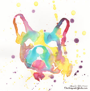 Rainbow Frenchie - Original Rainbow Watercolor French Bulldog Painting