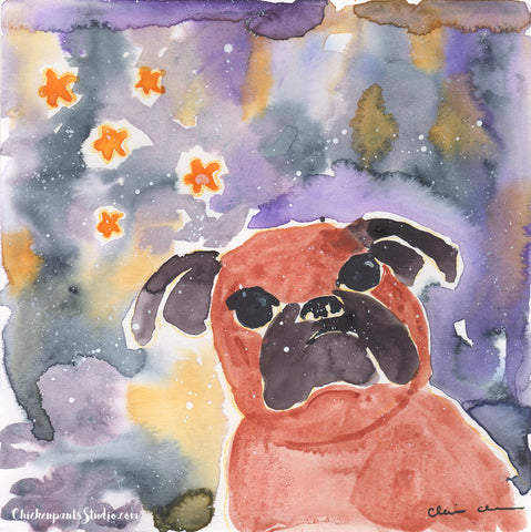 Star Gazing - Original Brussels Griffon Watercolor Painting