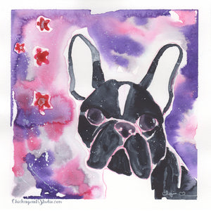 Galaxy Girl - Original Boston Terrier Watercolor Painting