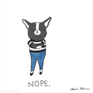 Nope - Original Boston Terrier Painting
