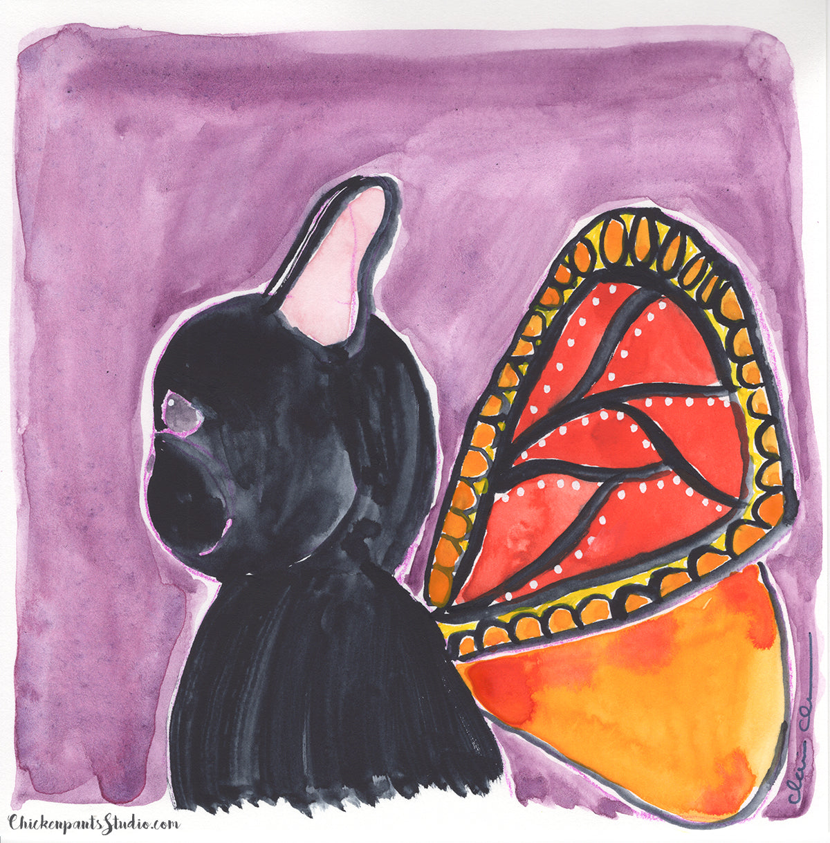 Butterfly, part one - Original French Bulldog Painting