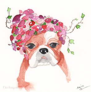 Rosa Rosa Rosa - Original English Bulldog Painting