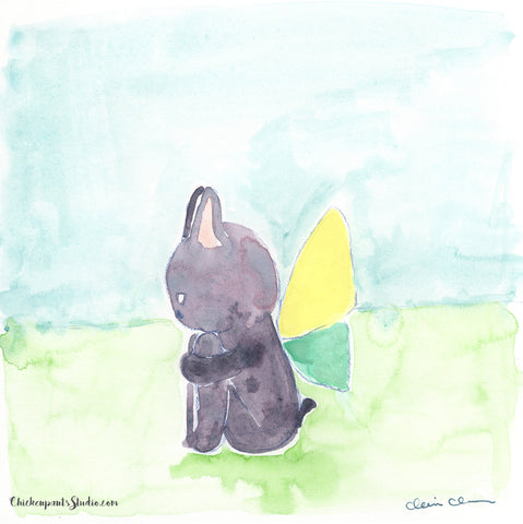 Butterfly, part two - Original French Bulldog Painting