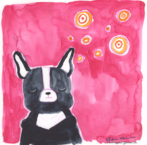 Thinking - Original Boston Terrier Painting