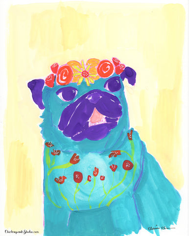 Blue - Original Pug Painting