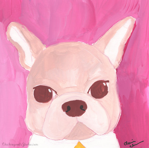 Pink Lady - Original French Bulldog Painting