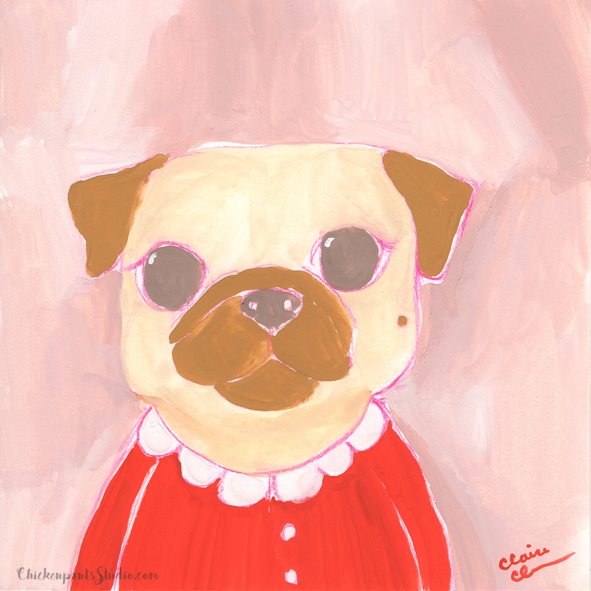 Red Sweater - Original Pug Painting