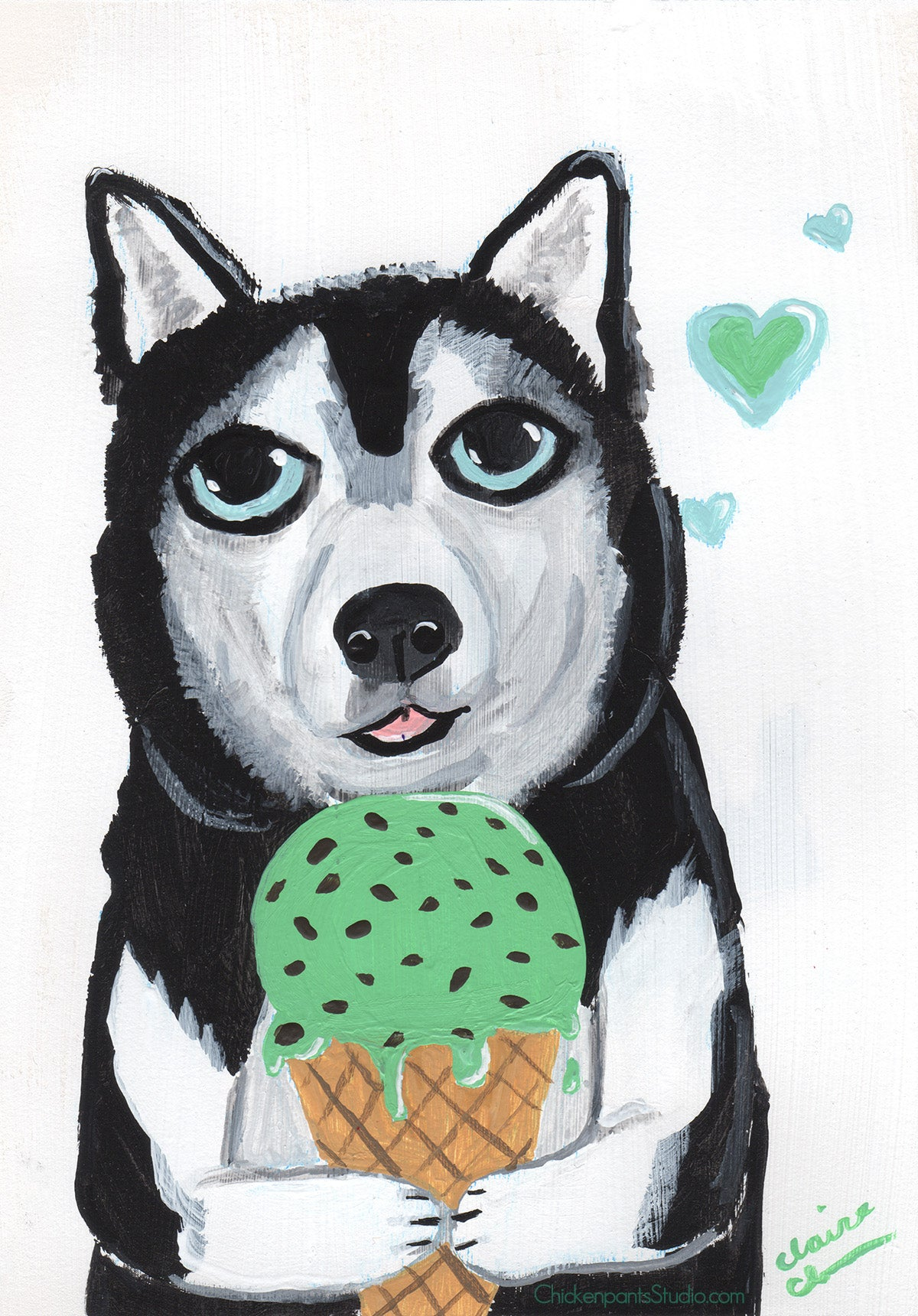 Don't Forget To Have Fun - Original Siberian Husky Painting