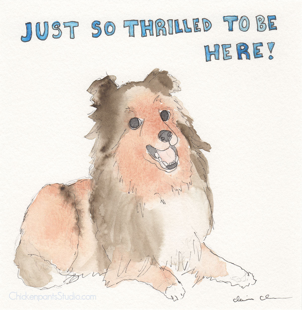 Just So Thrilled To Be Here - Original Sheltie Painting