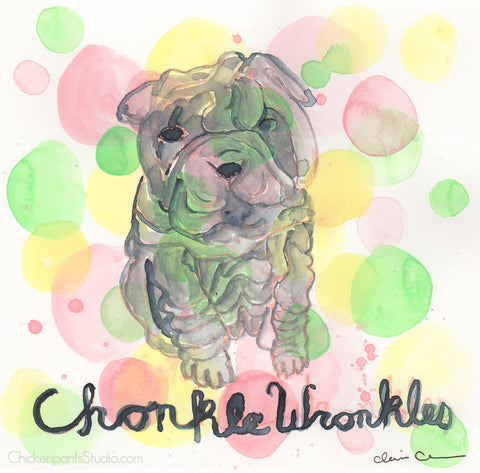 Chonkle Wronkles - Original Sharpei Painting