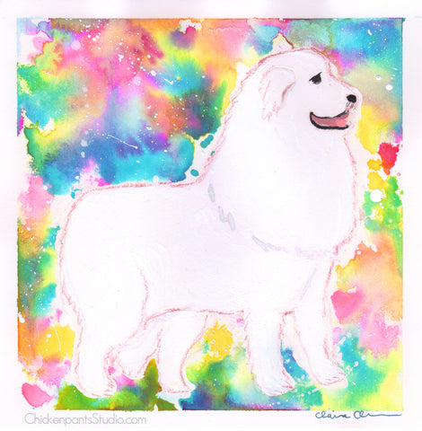 All The Colors, Please - Original Samoyed Painting