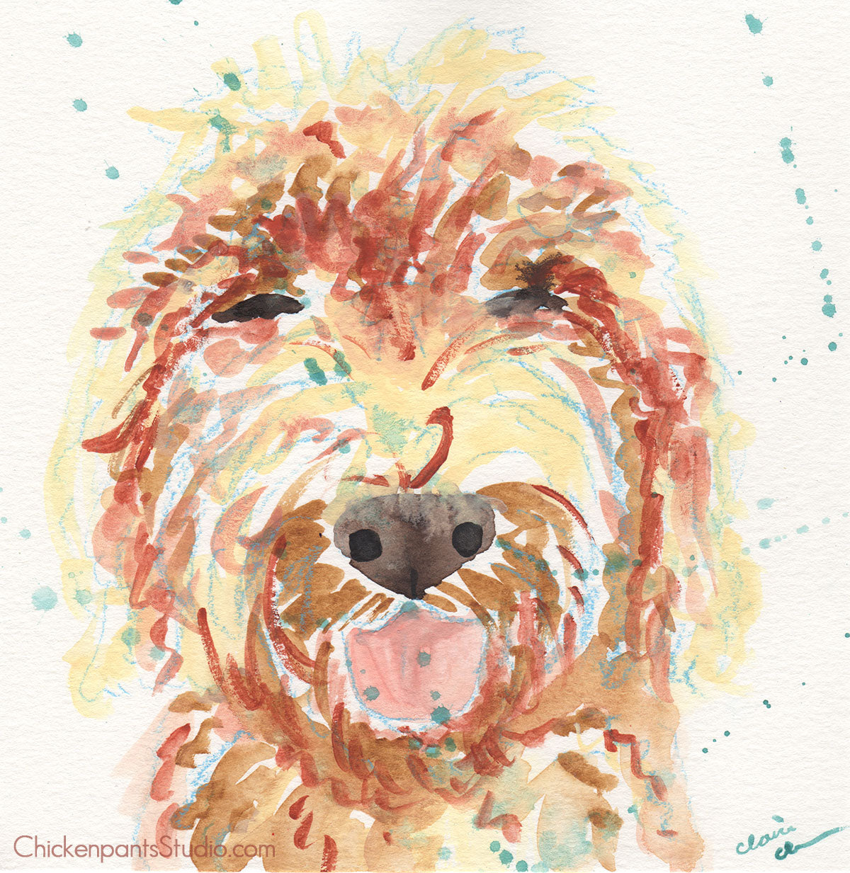 Happy - Original Goldendoodle Painting