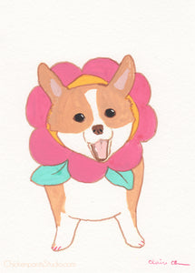 Corgiflower - Original Corgi Painting