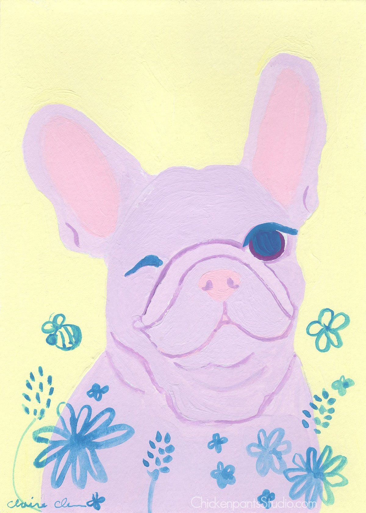Spring Baby - Original French Bulldog Painting