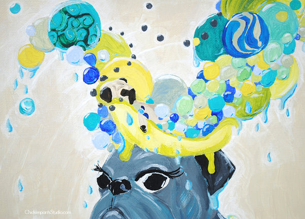 The Pug Of Self Care Rituals -  Bathtub and Bath Bombs  Original Pug Painting