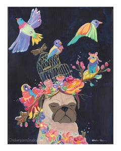 Bird Dream -  Pug Art Print