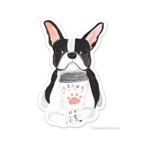 Beans Up Boston Terrier Vinyl Sticker