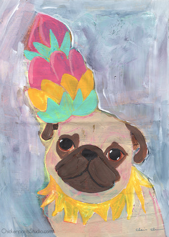 Brain Fog - Original Pug Painting