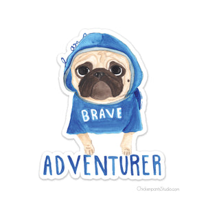Brave Adventurer Pug Vinyl Sticker