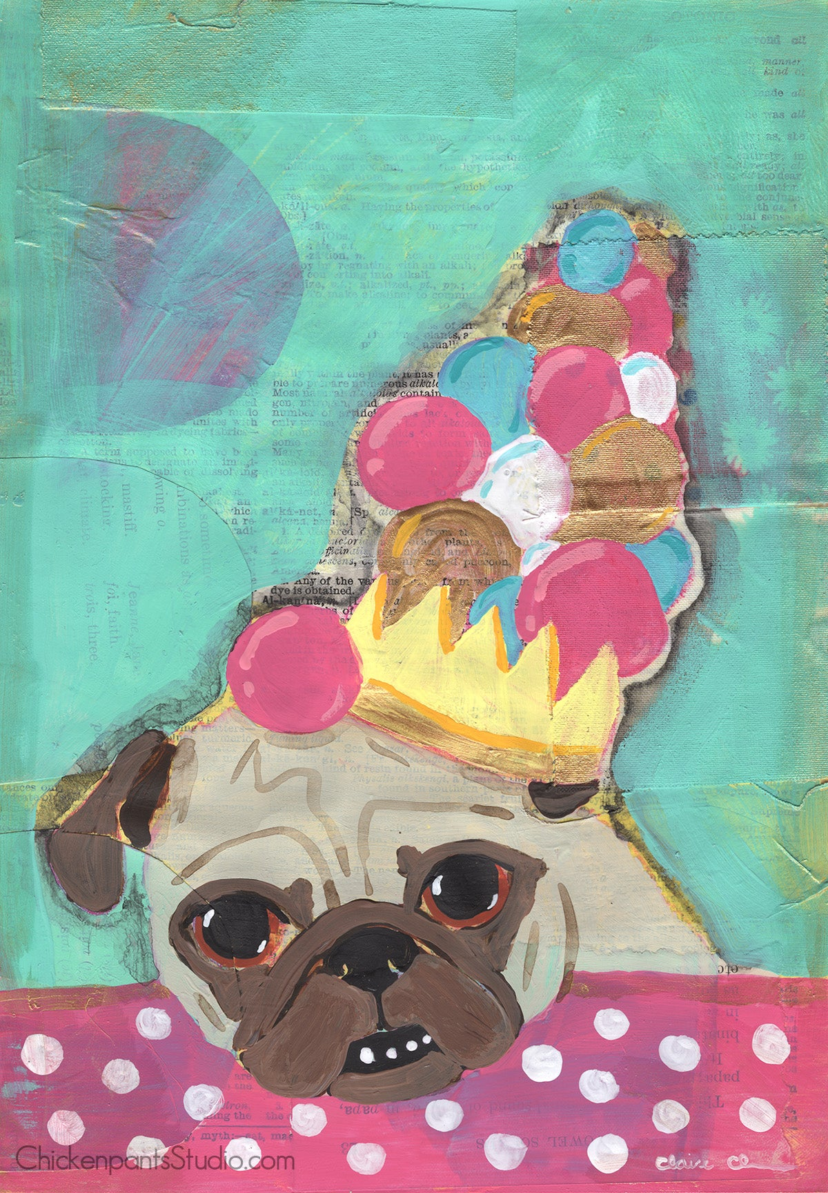 Bubblegum Queen - Original Pug Painting