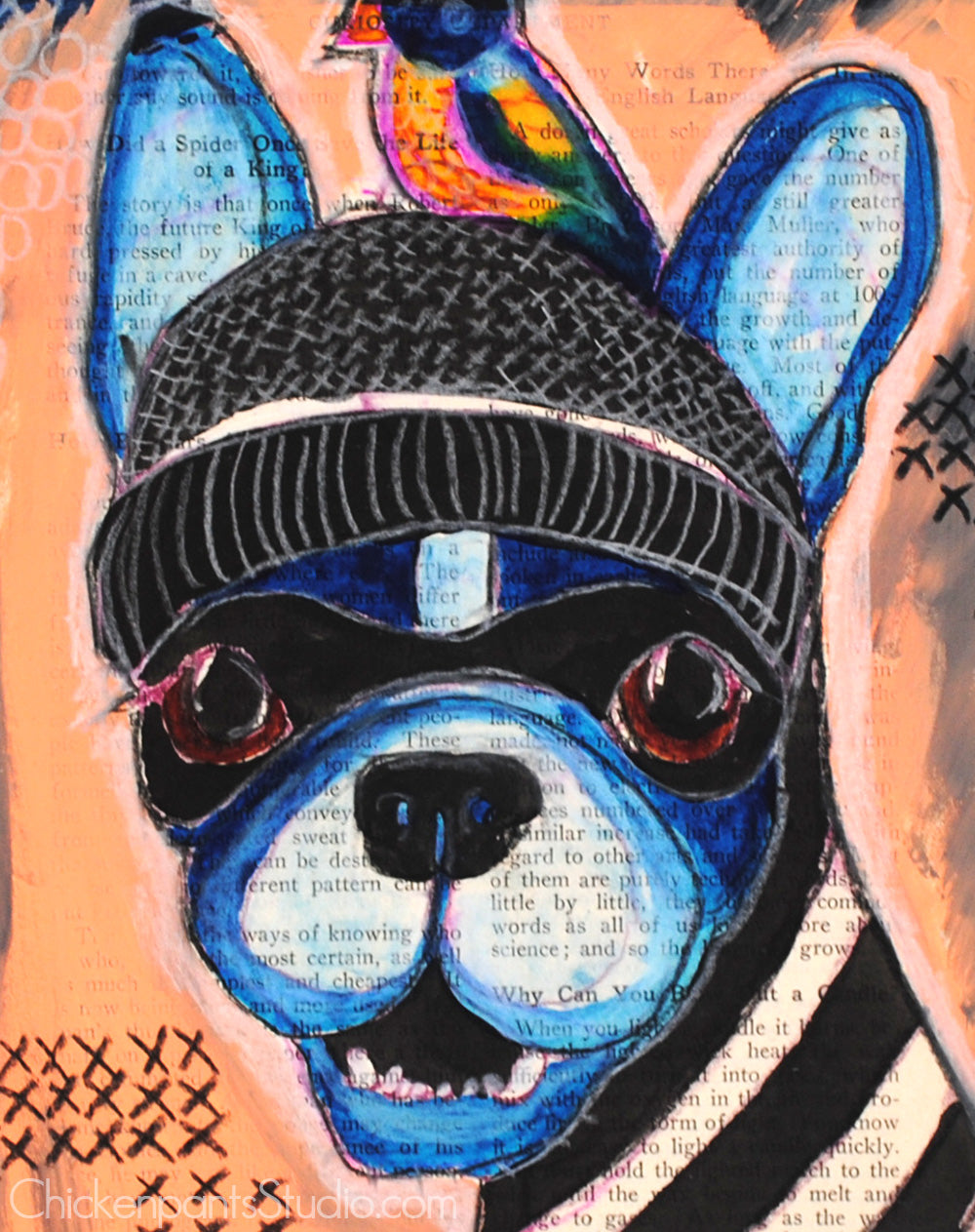 Caught In The Act -  Original Boston Terrier Mixed Media Painting