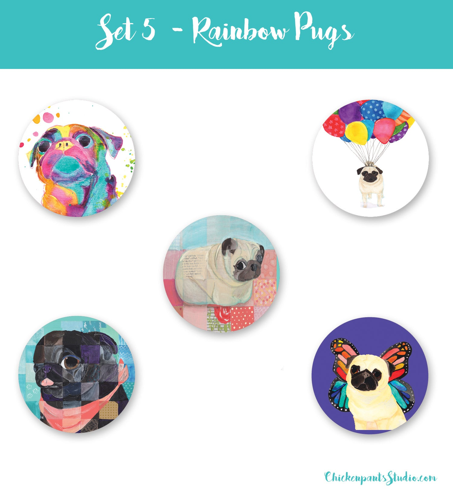 Rainbow Pugs - Button Set 5