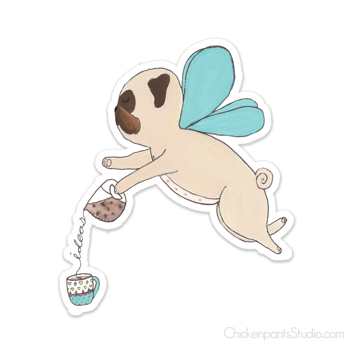 Coffee Fairy - Pug Vinyl Sticker