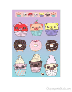 Cupcake and Donut Pugs Sticker Sheet