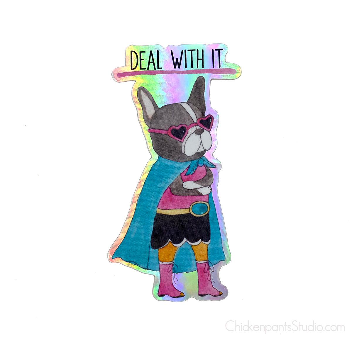 Deal With It - Boston Terrier Holographic Sticker