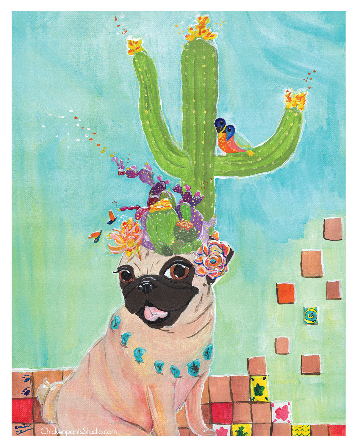 Desert Queen -  Pug Art Print
