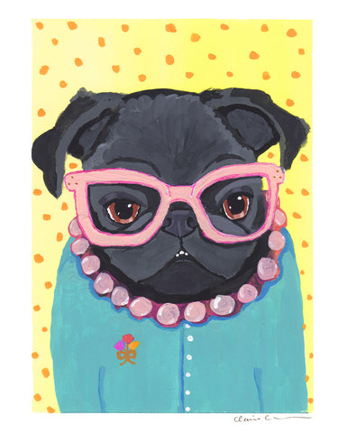 Edna - Original Framed Black Pug Art