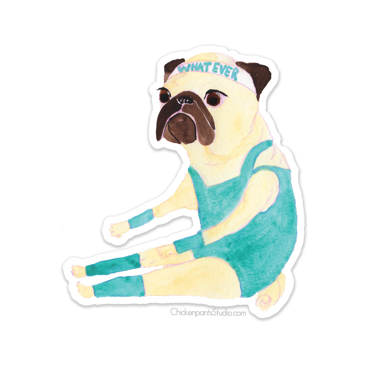 Exercising Pug Vinyl Sticker